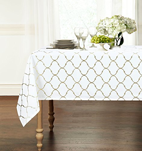 Premium Luxury Metallic Foil Lattice Quatrefoil Fabric Tablecloth - Assorted Sizes & Colors (54 in. x 102 in. (8-10 Chair), Gold)