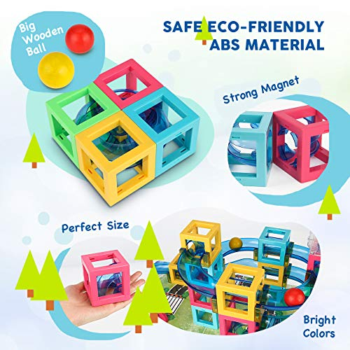 Magnetic Blocks with Marble Run Set Game - 63pcs Marble Maze Race Track Learning Toy for Kids, Construction Child Education Track Building Blocks (Storage Bag and Guidebook Include) by Gamenote (Image #3)