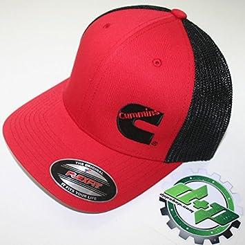291e8054c21 Amazon.com  Diesel Power Plus cummins offset logo mesh summer ball cap hat  flexfit black and red  Automotive