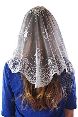 Girls Catholic Chapel Veil Authentic Spanish Embroidered Triangle Mantilla with Sewn-in Comb