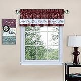 "Achim Home Furnishings Imports Live, Love, Laugh Window Curtain Valance, 58"" x 14"", Burgundy"