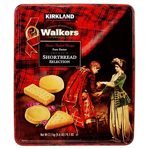 Kirkland Signature Walkers Home-Baked Pure Butter Premium Shortbread Selection Scottish Cookies - 4.6 lbs (74.1 oz tin)