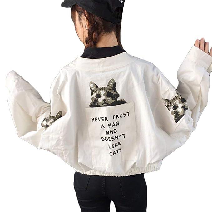 Abrigos Mujer Manga Larga Gatos Impresión Ropa Baseball Chaquetas Elegantes Anchas Casuales Moda Joven Outerwear Otoño Primavera Cazadoras Mujer: Amazon.es: ...