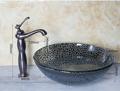 GOWE Bathroom Round Art Washbasin Tempered Glass Vessel Sink With Oil Rubbed Bronze Brass Faucet Set 0