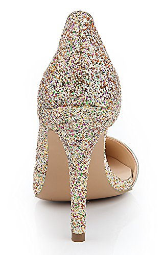 Stiletto Party Pumps Women's Gold Patent Wedding Dress Leather TDA Colorful Wonderful Sequins a4zxwqgC