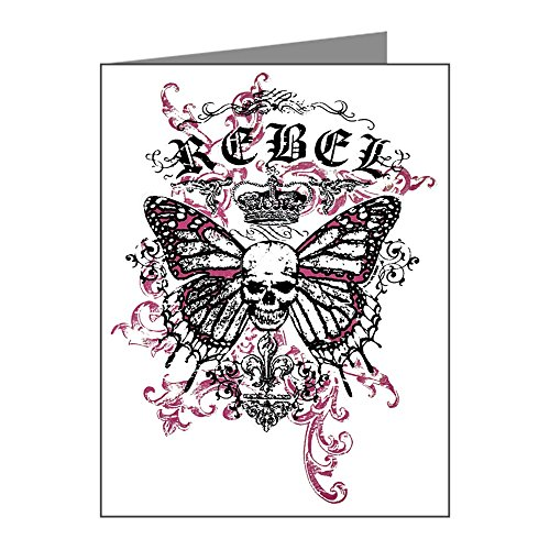 X-Large Greeting Card (10 Pack) Rebel Butterfly Skull Goth ()
