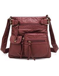 Small Multi Pocket Crossbody Bag for Women, Ultra Soft Washed Vegan Leather Shoulder Purse, H1833