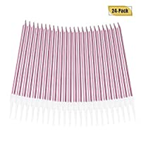 Aplusplanet 24 Count Birthday Candles, Metallic Long Thin Pink Cake Candles in Holders for Cupcake Wedding Cake Birthday Cake Party Cake Decorations