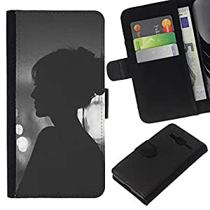 KingStore / Leather Etui en cuir / Samsung Galaxy Core Prime / Viñeta Hipster Mujer Noche;