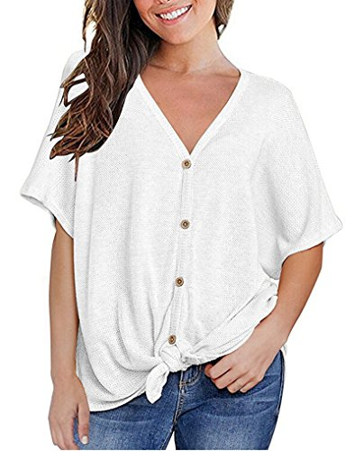 Halife Womens Casual Ribbed Scoop V Neck Blouses Bow Knot Front Plain Tee Tops White,S - Soft White Knit Blouse