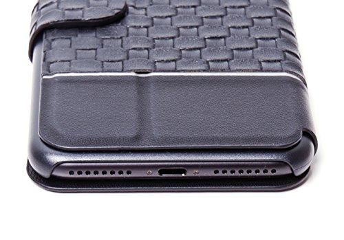 Smartphone Hülle für IPhone 7 Plus, Flip Cover PU-Leder Tasche in gewebter Optik schwarz von ICH&DU