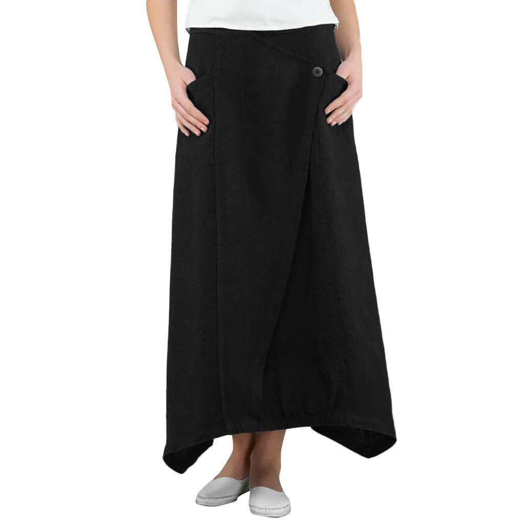 ℱLOVESOOℱ Women Ladies Cotton and Linen Midi Length Skirt Dress Fashion Solid Button Skirt Wild Leisure Skirt with Pockets Black