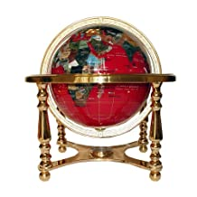 Unique Art 220-GB-RED-GOLD 13-Inch Tall Table Top Red Ocean Gemstone World Globe with Gold 4 Leg Stand