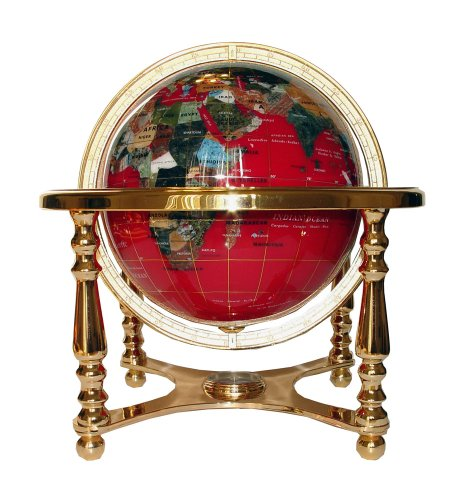 Unique Art 13-Inch Tall Table Top Red Ocean Gemstone World Globe with Gold 4 Leg Stand