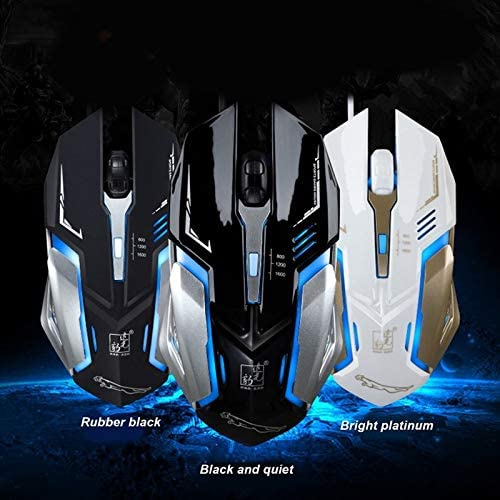 Length Color : Jet Black 1.3m Durable K1 USB 1600DPI Three-Speed Adjustable LED Backlight Mute Wired Optical Gaming Mouse