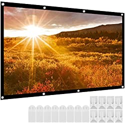 Micsoa Portable Projector Screen 120 Inch 16:9 HD Folding Indoor Outdoor Movie Screen Gaming Office Home Cinema Projector Screen White