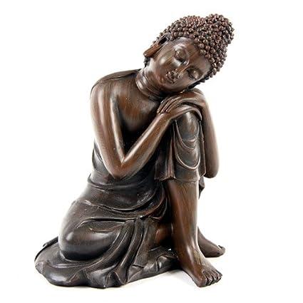 Efecto de madera grande de Buda 14 cm estilo B Cabeza sobre rodilla de la Estatua