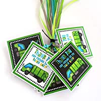 Garbage Truck Thank You Favor Tags - Kids Children Trash Bash Birthday Party Gift Tags - Set of 12