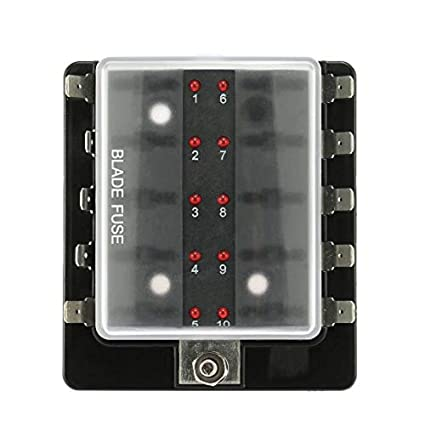 TurnRaise 8 Vie Scatola dei Fusibili 12v Portafusibili con Indicatore LED per Auto Barca Marine Trike