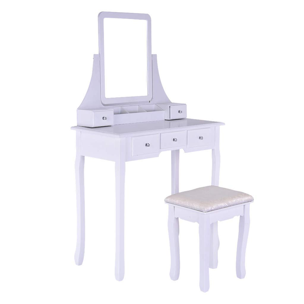 Sonmer Vanity Set with Mirror, Cushioned Stool, Storage Shelves, Drawers Dividers ,3 Style Optional, Shipped from US - Two Day Shipping (#1, White)