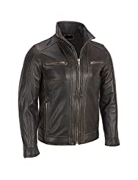 Black Rivet Mens Leather Faded Seam Cycle Genuine Cow hide Distressed Jacket