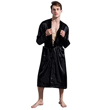 9157dd9600 Mens Classic Satin Silk Pajamas Kimono Spa Bathrobe Lightweight Loungewear  Nightwear Long Bath Robe (Black