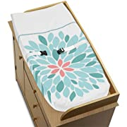 Sweet Jojo Designs Baby Changing Pad Cover for Modern Turquoise and Coral Emma Collection