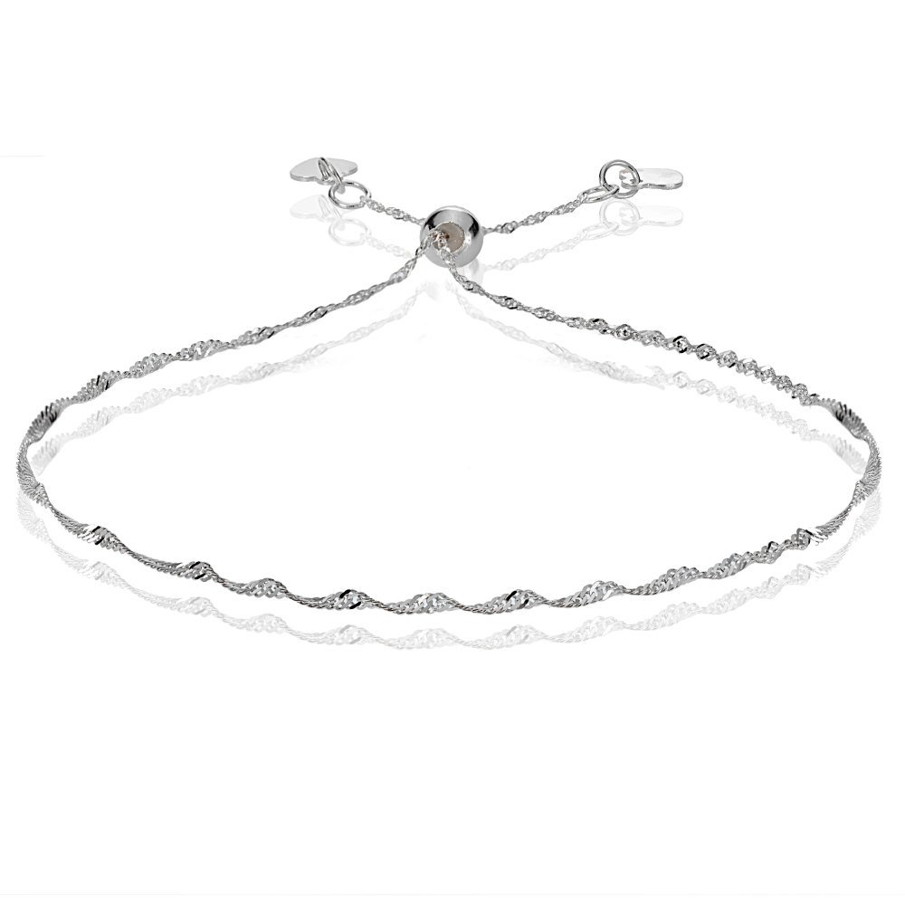 Bria Lou 14k White Gold 1.4mm Italian Singapore Adjustable Chain Bracelet, 7-9 Inches