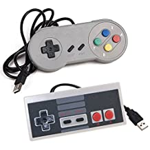 2 Packs Classic Nintendo USB NES Controller USB Famicom Controller Joypad Gamepad,EEEKit Computer Games Solution Kit for Windows PC / MAC / Raspberry Pi (Type A+Type B)