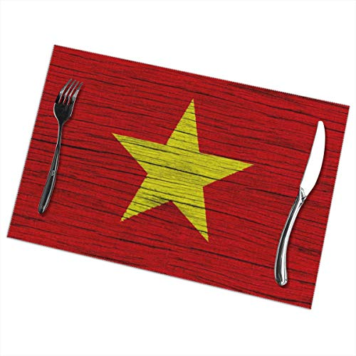 Nice Music Vietnam Wooden Texture Vietnamese Flag 6 Piece Set of Placemats Pc Party Kitchen Dining Room Home Table Place Mat Patio Holidays Decorations Decor Ornament Themed Print Pattern Kid Girls -
