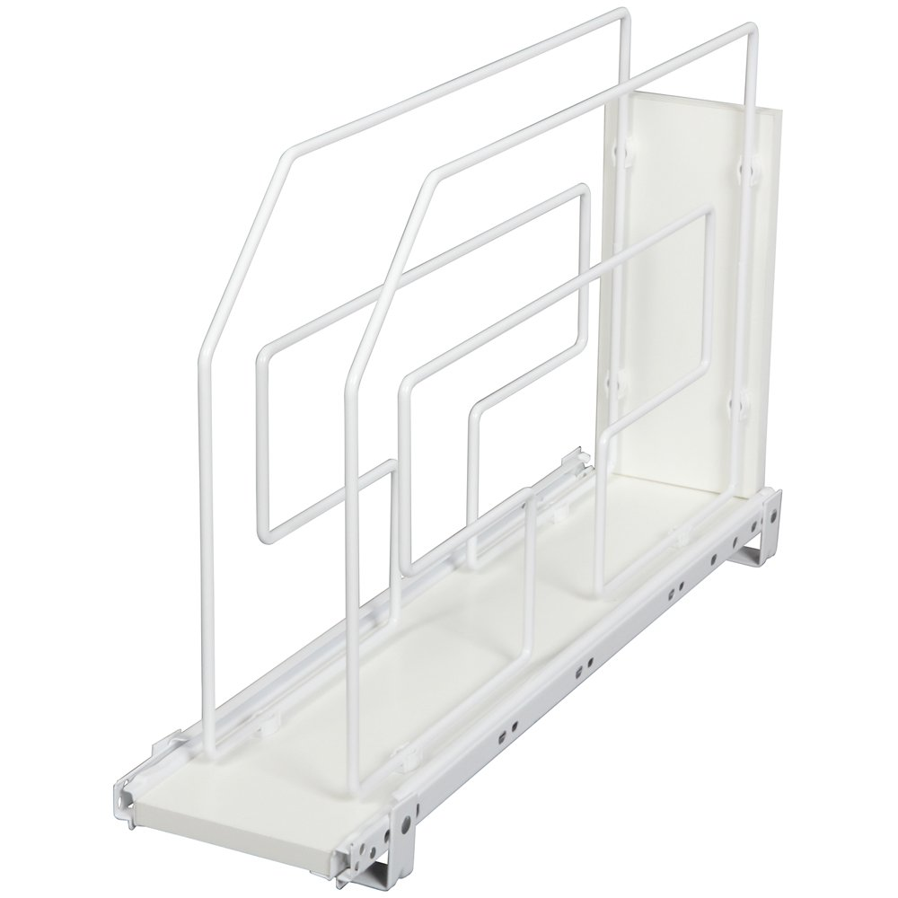 Knape & Vogt TDRO6-W 6 in. Roll Out Tray Divider Cabinet Organizer, White