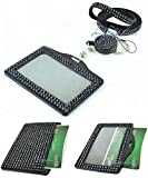 Multi-Colors 3 in 1 Full Rhinestone Horizontal ID holder with Lanyard and retractable Reel (Black)
