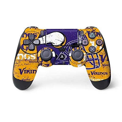 Skinit Minnesota Vikings - Blast PS4 Controller Skin - Officially Licensed NFL PS4 Decal - Ultra Thin, Lightweight Vinyl Decal Protective Wrap