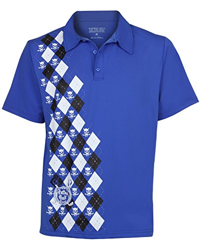 Tattoo Golf Men's Monster Performance Polo M Royal Blue (Golf Monster Blue)