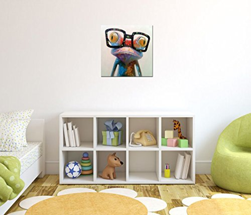 Fokenzary-Hand-Painted-Oil-Painting-Pop-Frog-with-Glasses-on-Canvas-Wall-Art-Framed-Ready-to-Hang