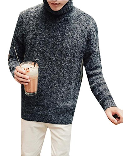 Dark Top Turtle Ribbed Winter Pullover Men's M Sweater Grey amp;S amp;W Neck OqwvxfS