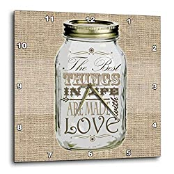 3dRose Mason Jar on Burlap Print Brown - The Best Things in Life are Made with Love - Gifts for The Cook - Wall Clock, 10 by 10-Inch (DPP_128507_1)