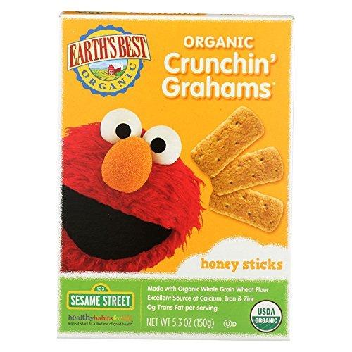 Earths Best Organic Crunchin Grahams Honey Sticks, 5.3 Ounce -- 6 per case. - Crunchin Crackers