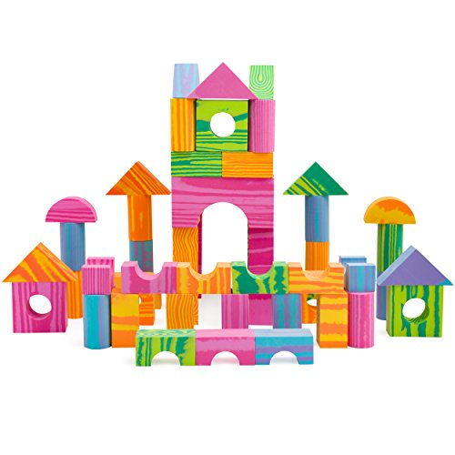 Morvat 60 Piece Soft Foam Multi-Colored Building Block Set with Floating Base, Tote & Mesh Bags - Educational Stacking Blocks - 100% Non-Toxic & BPA Free - Great Bath Toys for Boys and Girls Foam Wooden Blocks