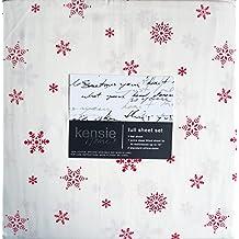 Bedding 4 Piece Cotton Sheet Set Red Geometric Winter Festive Scandinavian Snowflakes on White (Full)