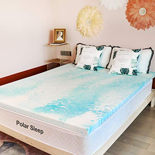 POLAR SLEEP Mattress Topper, 3 Inch Plush Gel Memory Foam Mattress Topper with CertiPUR-US Certified (King)