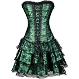 Satin Green Corset Dress Halloween Costume Burlesque Cosplay Black Net Overbust