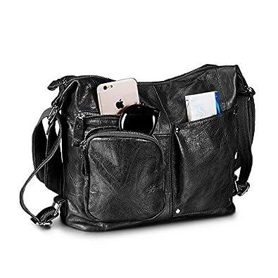 25823d6314ba0 Lecxci Womens Large Multi-purpose Leather Sling Shoulder Purse Crossbody  Travel Bag Hiking Day Backpacks
