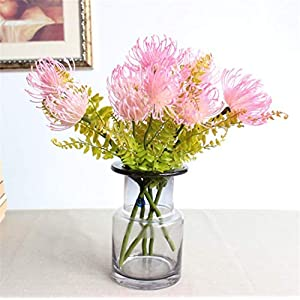 Skyseen 5PCS Artificial Pincushion Flower Fake Leucospermum Simulation Tropical Protea Cynaroides Plant,Pink 63