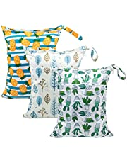 Babygoal Wet Dry Bags for Baby Cloth Diapers, Washable Travel Bags, Beach, Pool, Gym Bag for Swimsuits & Wet Clothes with Two Zippered Pockets 3 Pack, 3LN05-CA