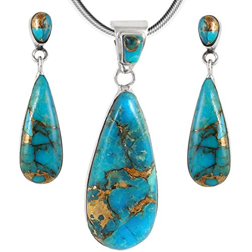 (Matching Turquoise Set in 925 Sterling Silver (Pendant, Earrings, Necklace 20