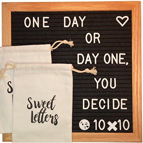 black felt letter board 10 10 inch two extra bags for easy storage premium oak wooden frame. Black Bedroom Furniture Sets. Home Design Ideas