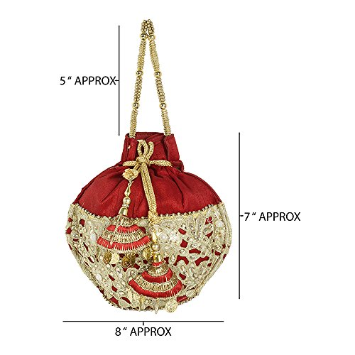 Colured Purse Pouch For Traditional Collection Ethnic Womens Embroidered Red Purse qTY1qH