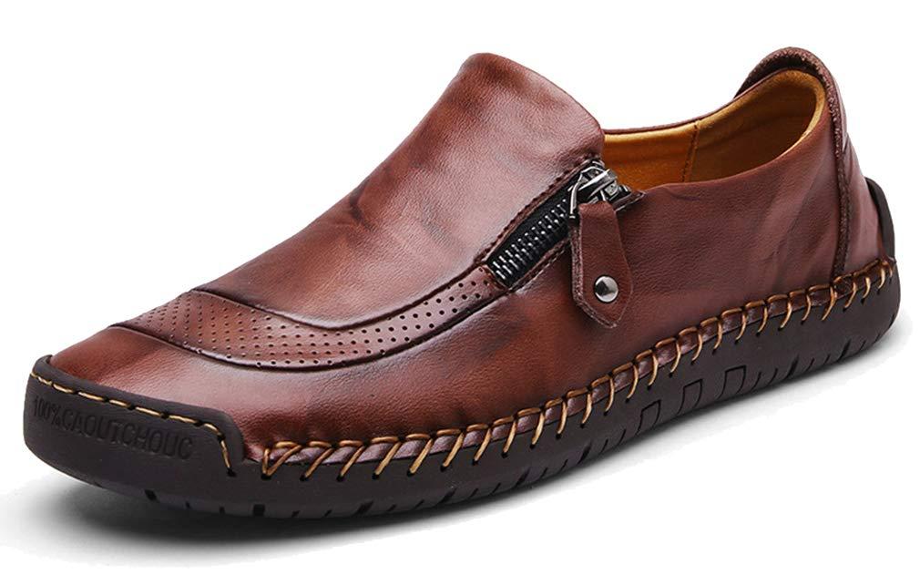 Femaroly Men Formal Business Leather Shoes Loafers Handmade Round Toe Slip-on Driving Waterproof Oxfords Dark Brown 11M
