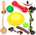Large Dog Chew Toys 8 Value Pack - for Medium dogs & Large dogs - for aggressive chewers - 3 Dog Toys 100% Natural Rubber (Frisbee, Bone, IQ Treat Ball) - Set of 5 Dog Toys Rope